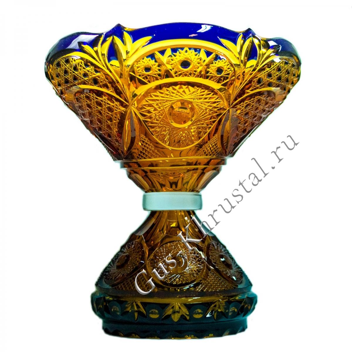 Ваза Хрустальная Для Фруктов чайно-кобальтовая №2