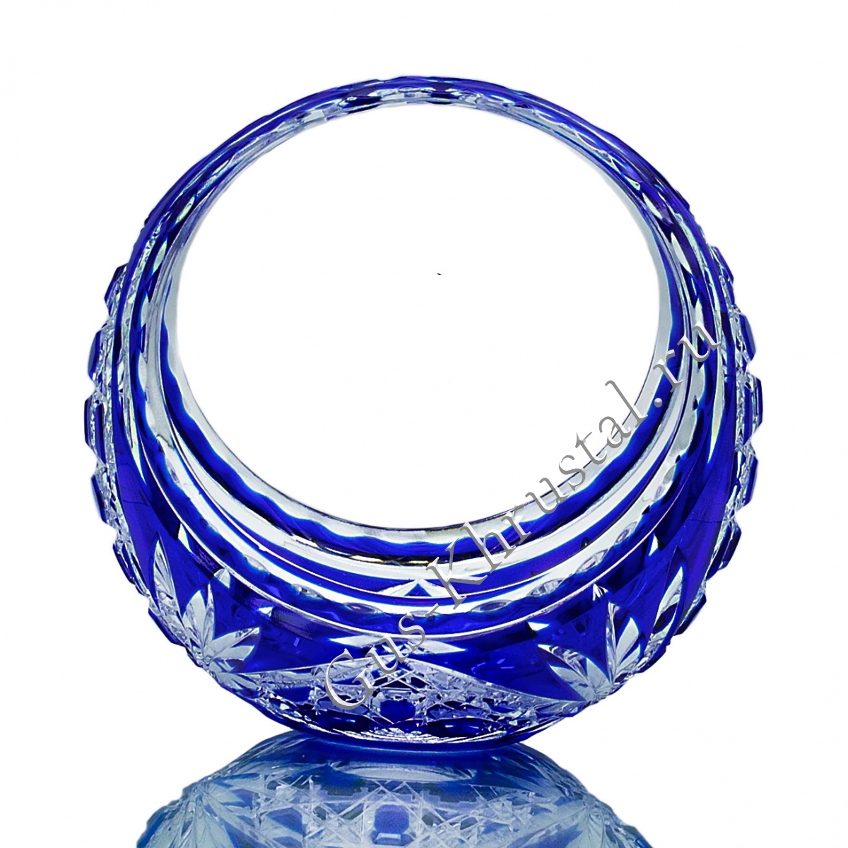 Ваза Корзинка Хрустальная синяя малая